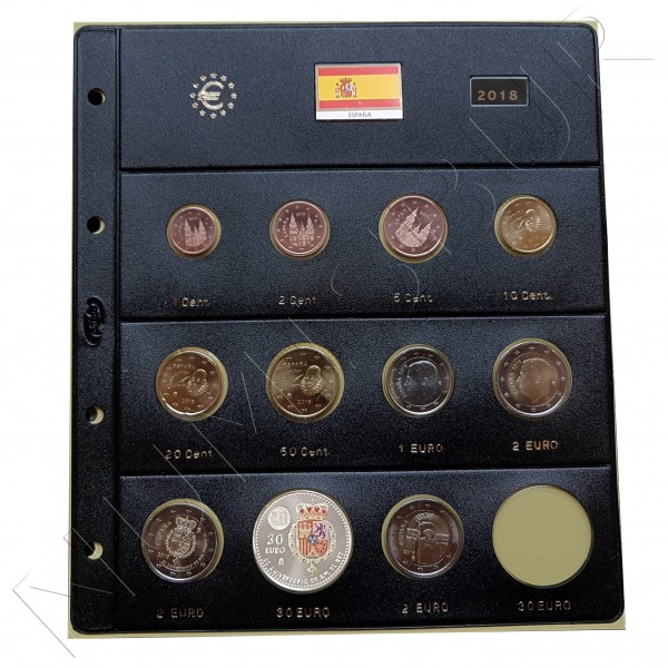 HOJA PARDO ESPAÑA - 2018 EUROS (11 valores)