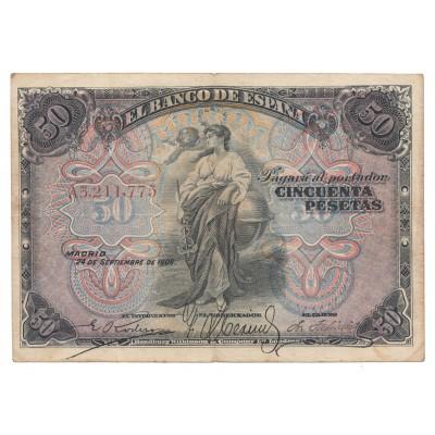 50 pesetas ESPAÑA 1906 - Serie A #13