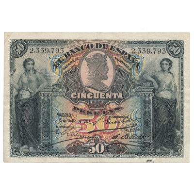 50 pesetas ESPAÑA 1907 - Sin serie #10