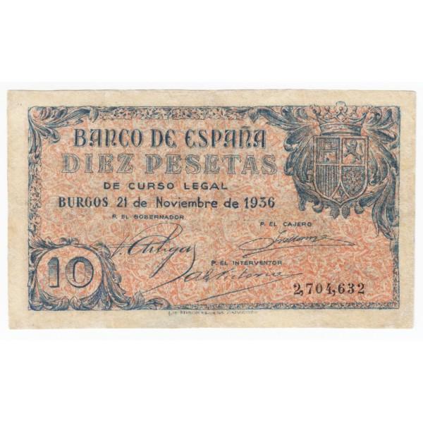 10 pesetas SPAIN 1936 - Burgos