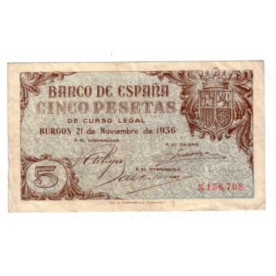 5 pesetas SPAIN 1936 - Burgos