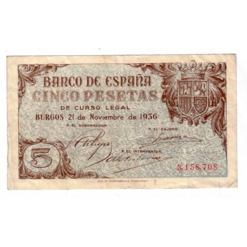 5 pesetas ESPAÑA 1936 - Burgos