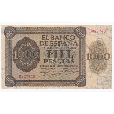 1000 pesetas ESPAÑA 1936 - Burgos #2