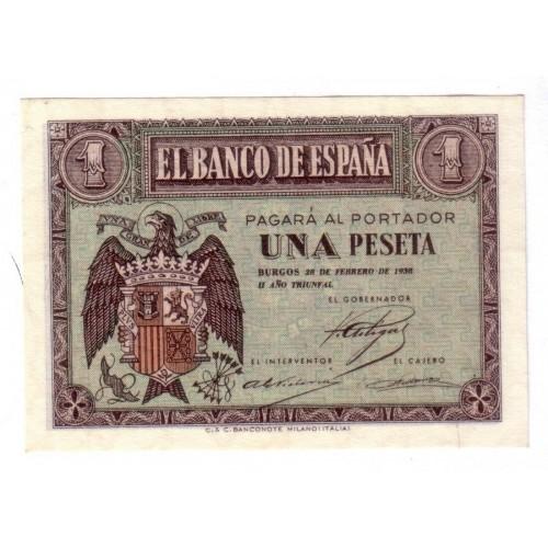 1 peseta ESPAÑA 1938 - 28 de Febrero de 1938 BURGOS