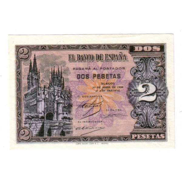 2 pesetas SPAIN 1938 - 30 APRIL BURGOS