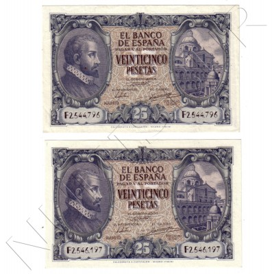 25 peseta SPAIN 1940 - Madrid 9 January UNC