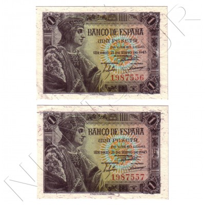 1 peseta SPAIN 1943 - Couple WITHOUT SERIES