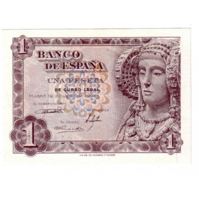 1 peseta SPAIN 1948 - 19 of June 1948 DAMA DE ELCHE