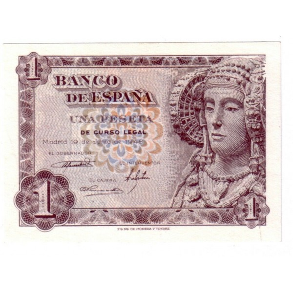 1 peseta SPAIN 1948 - 19 of June 1948 DAMA DE ELCHE