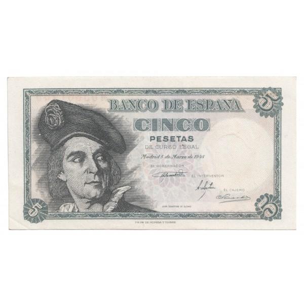 5 pesetas ESPAÑA 1948 - Serie M #17