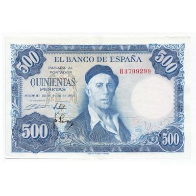 500 pesetas ESPAÑA 1954 - Serie H #21