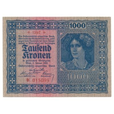 1000 coronas AUSTRIA / HUNGRIA 1922 - S/C