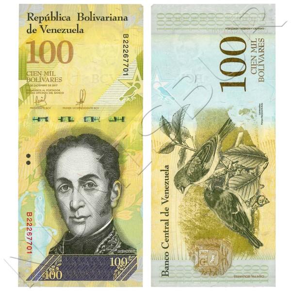 100000 bolivares VENEZUELA 2017