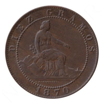 10 centimos ESPAÑA 1870 - BARCELONA #96