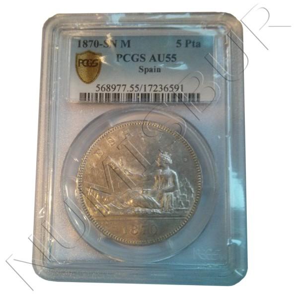 5 pesetas ESPAÑA 1870 - SN M AU55