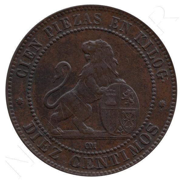 10 centimos ESPAÑA 1870 - OM BARCELONA