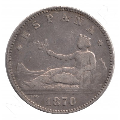 1 peseta ESPAÑA 1870 - SNM #89