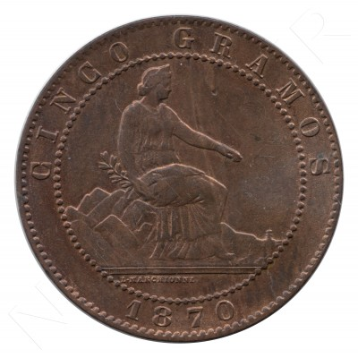 5 cents SPAIN 1870 - OM BARCELONA S/C #92