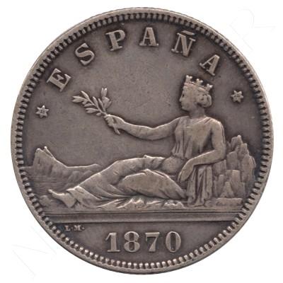 2 pesetas ESPAÑA 1870 - DE.M  *74* #55