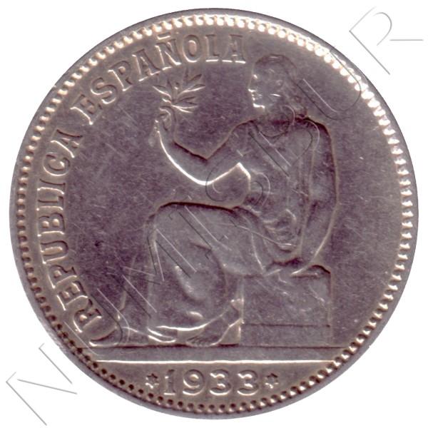 1 peseta SPAIN 1933 - II Republic *3* *4*