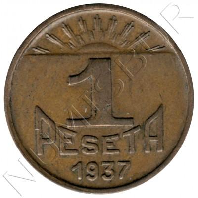 1 peseta SPAIN 1937 - Consejo Asturias y León