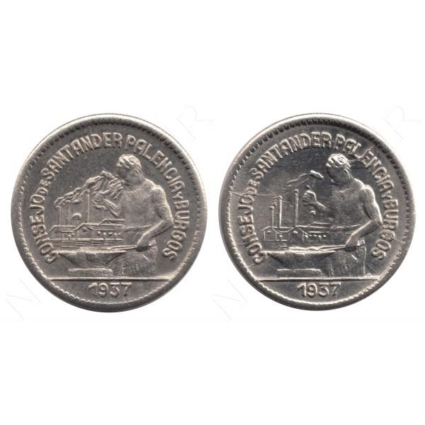50 centimos ESPAÑA 1937 - Consejo de Santander Palencia y Burgos (x2) #107