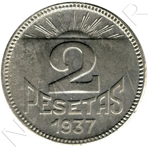 2 pesetas SPAIN 1937 - Consejo Asturias y León