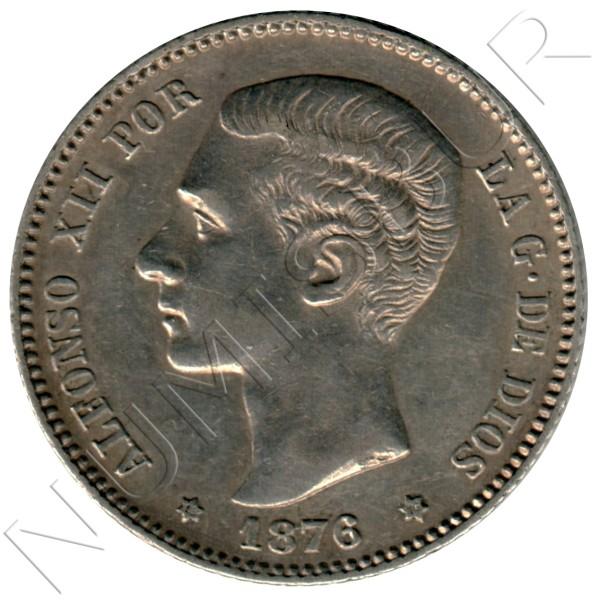 1 peseta SPAIN 1876 - DE .M.