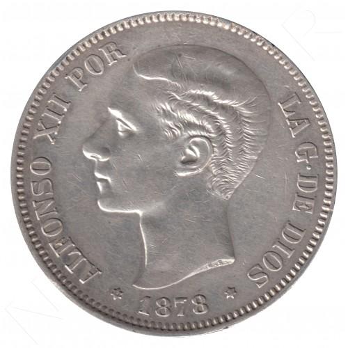5 pesetas ESPAÑA 1878 - Alfonso XII *78* DE.M