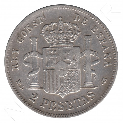 2 pesetas ESPAÑA 1881 - Alfonso XII *81* MS.M