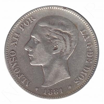 5 pesetas ESPAÑA 1881 - Alfonso XII *81* MSM
