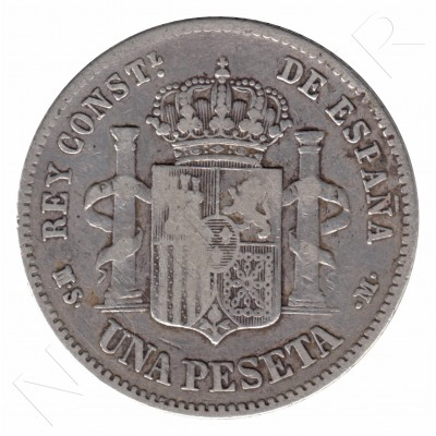 1 peseta SPAIN 1882 - Alfonso XII *82*