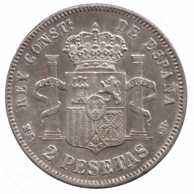 2 pesetas ESPAÑA 1882 - Alfonso XII MS.M *82* #54