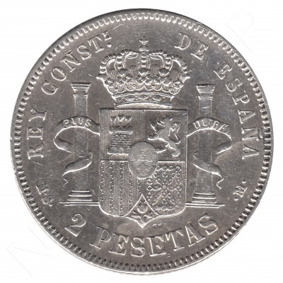 2 pesetas ESPAÑA 1882 - Alfonso XII MS.M *82* #53