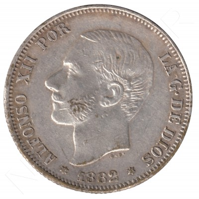 2 pesetas ESPAÑA 1882 - Alfonso XII #80 (FALSA DE EPOCA)