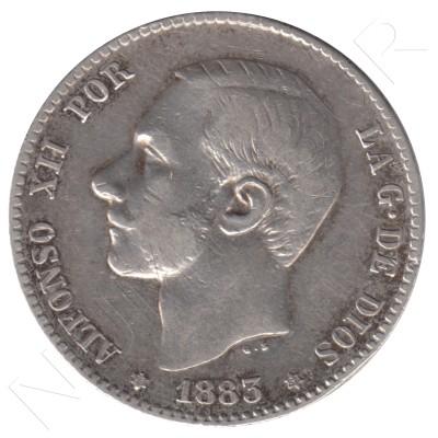 1 peseta ESPAÑA 1883 - Alfonso XII *83*