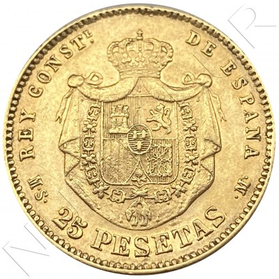 25 pesetas SPAIN 1883 - Alfonso XII *18* *83* MS.M