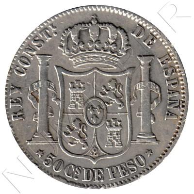 50 centavos peso ESPAÑA 1883 - Alfonso XII MANILA