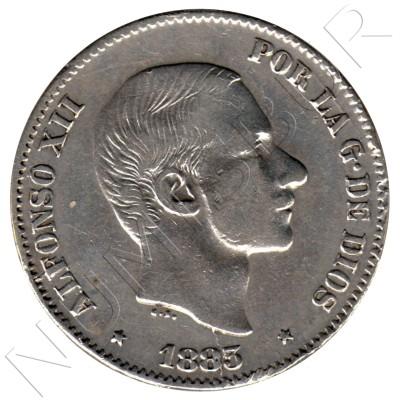 50 cents peso SPAIN 1883 - Alfonso XII MANILA