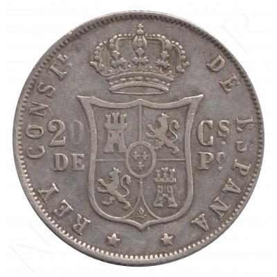 20 cents peso SPAIN 1883 - Alfonso XII MANILA #59