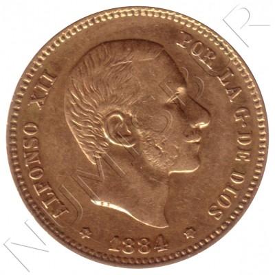 25 pesetas ESPAÑA 1884 - Alfonso XII *18* *84*