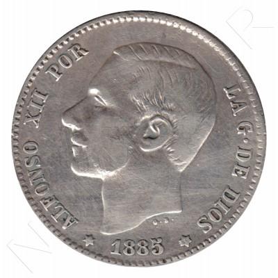 1 peseta ESPAÑA 1885 - Alfonso XII *86*