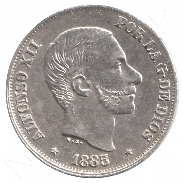 10 centavos peso ESPAÑA 1885 - Alfonso XII MANILA #28