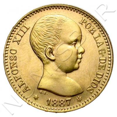 20 pesetas ESPAÑA 1887 - Reacuñacion oficial 1962