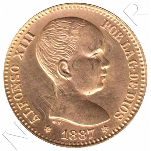 20 pesetas ESPAÑA 1887 - Reacuñacion oficial 1962 *19* *62*