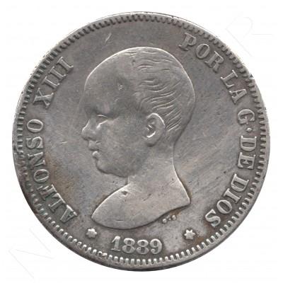 2 pesetas ESPAÑA 1889 - Alfonso XIII MP.M #85