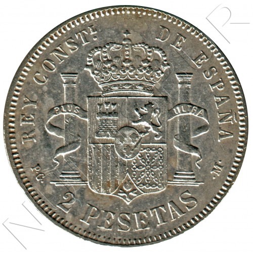 2 pesetas ESPAÑA 1892 - PG .M.