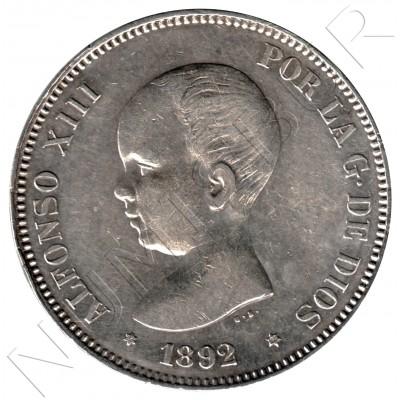 5 pesetas ESPAÑA 1892 - Alfonso XIII *18* *92*