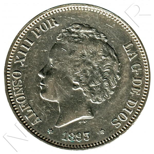 5 pesetas SPAIN 1893 - Alfonso XIII *93* PG.L