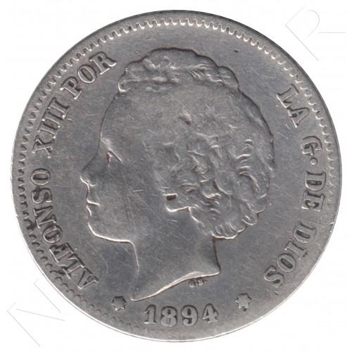 1 peseta ESPAÑA 1894 - Alfonso XIII *94* Bucles